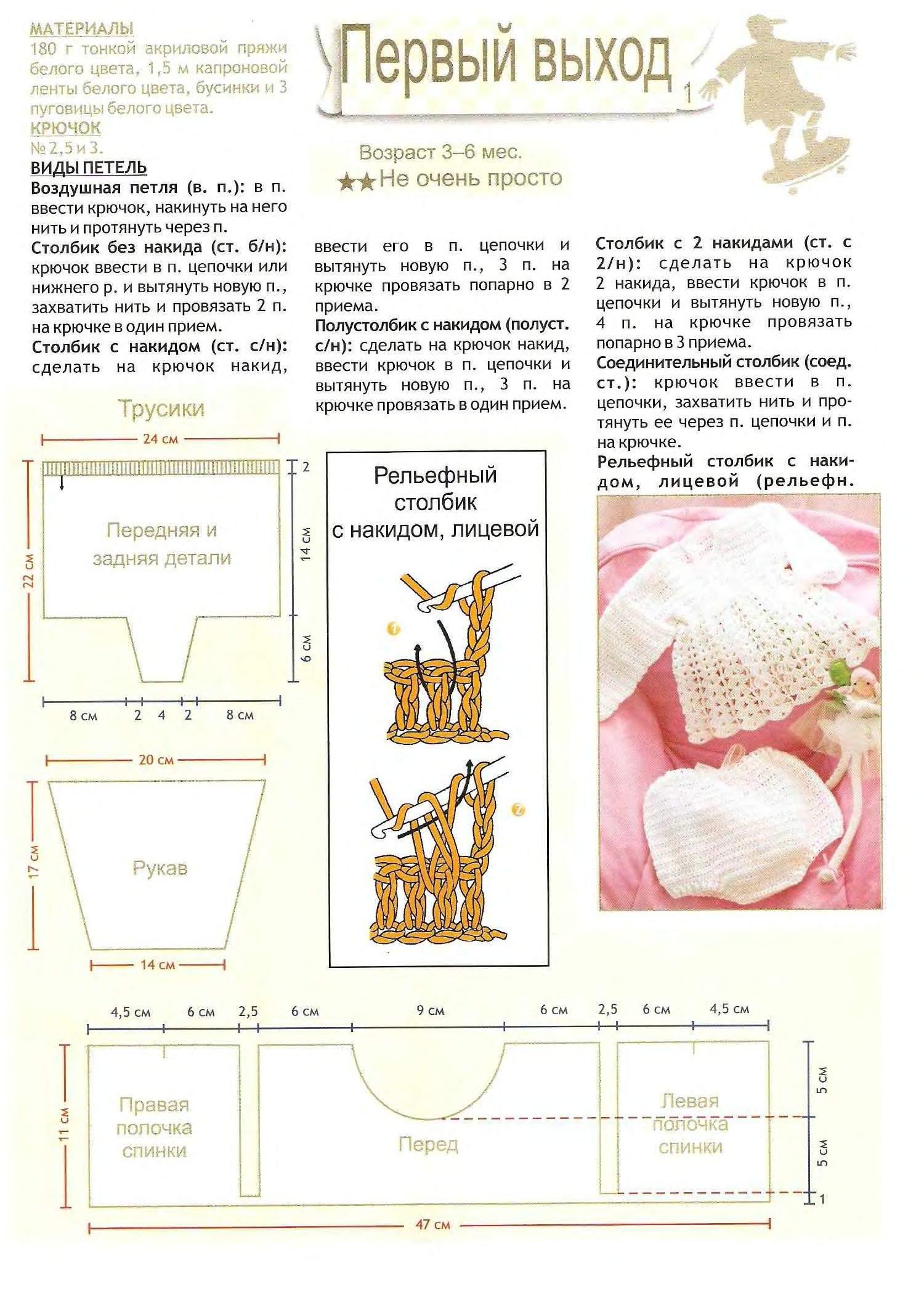 Платье для новорожденной девочки связать спицами схема и описание