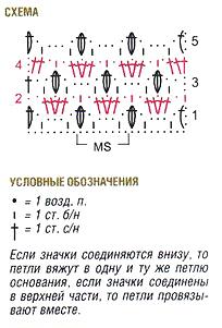 схема узора белого пуловера