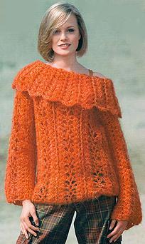 мохеровый пуловер с большим воротником
