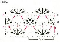 схема простого веерного узора