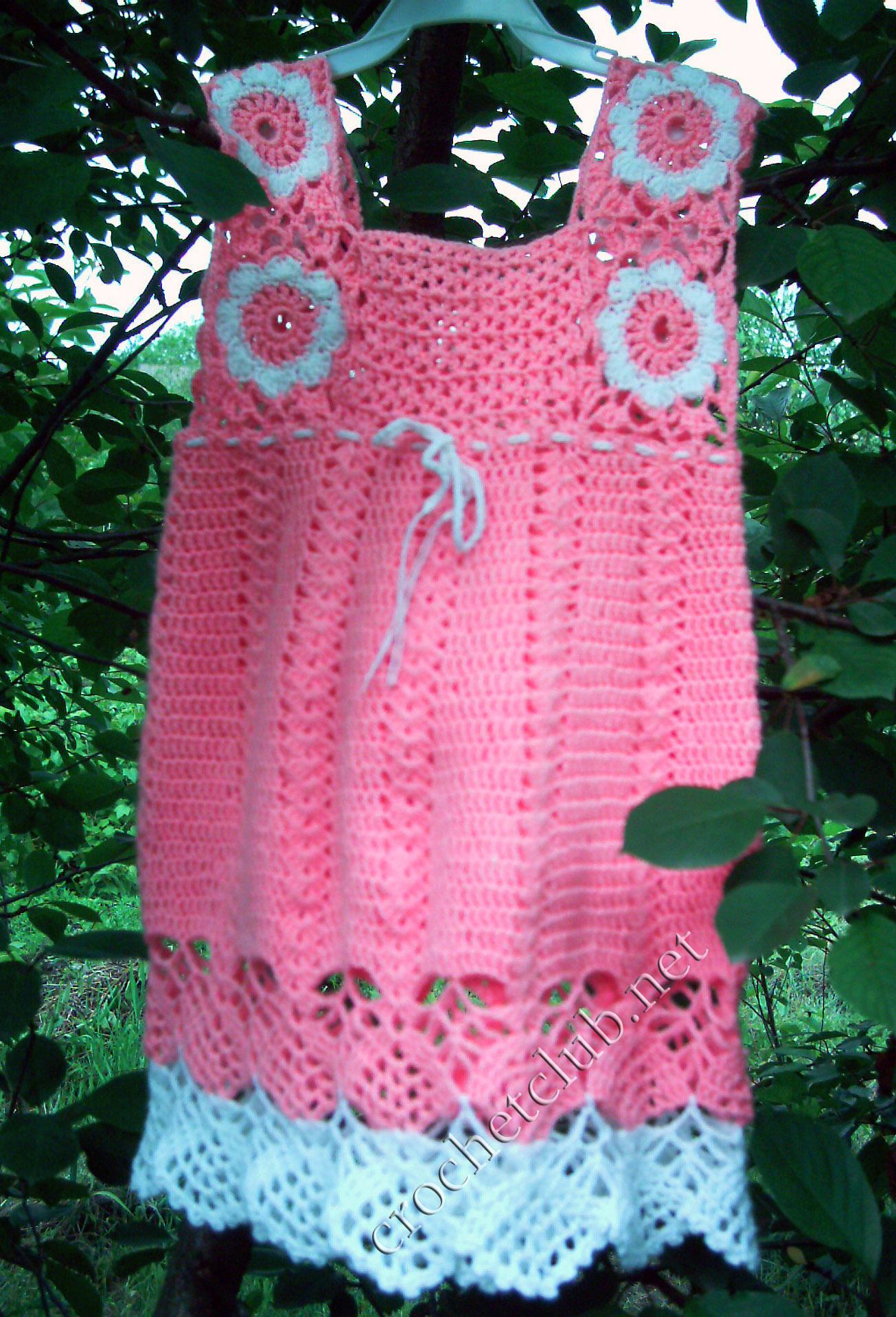 Вязание крючком платья тёплые