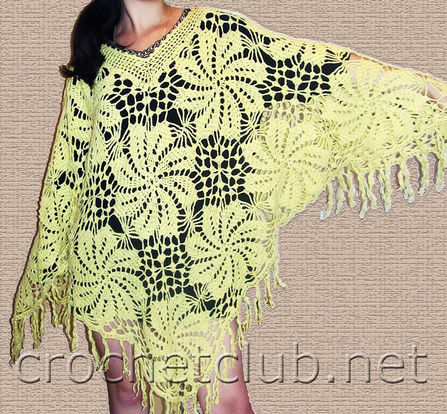 цветочная шаль пончо вязание крючком блог настика
