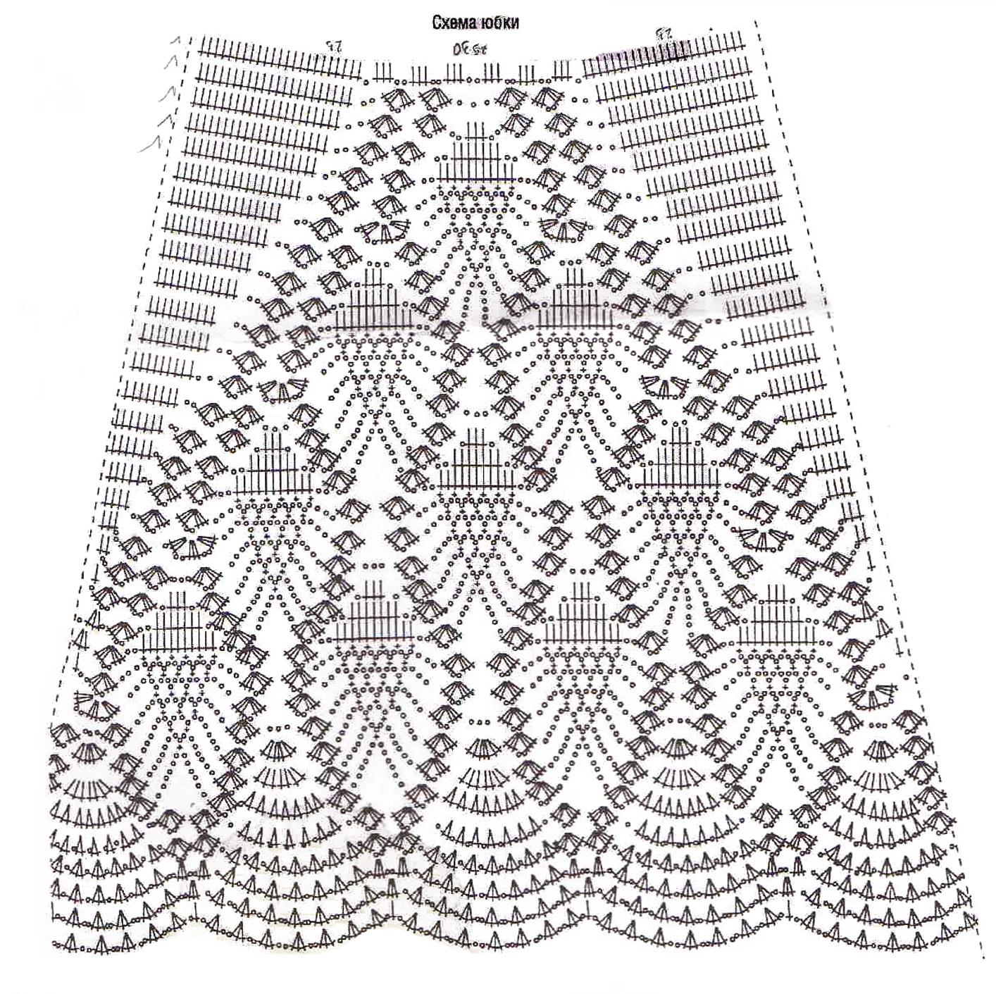 Вяжем крючком узоры для юбки схемы