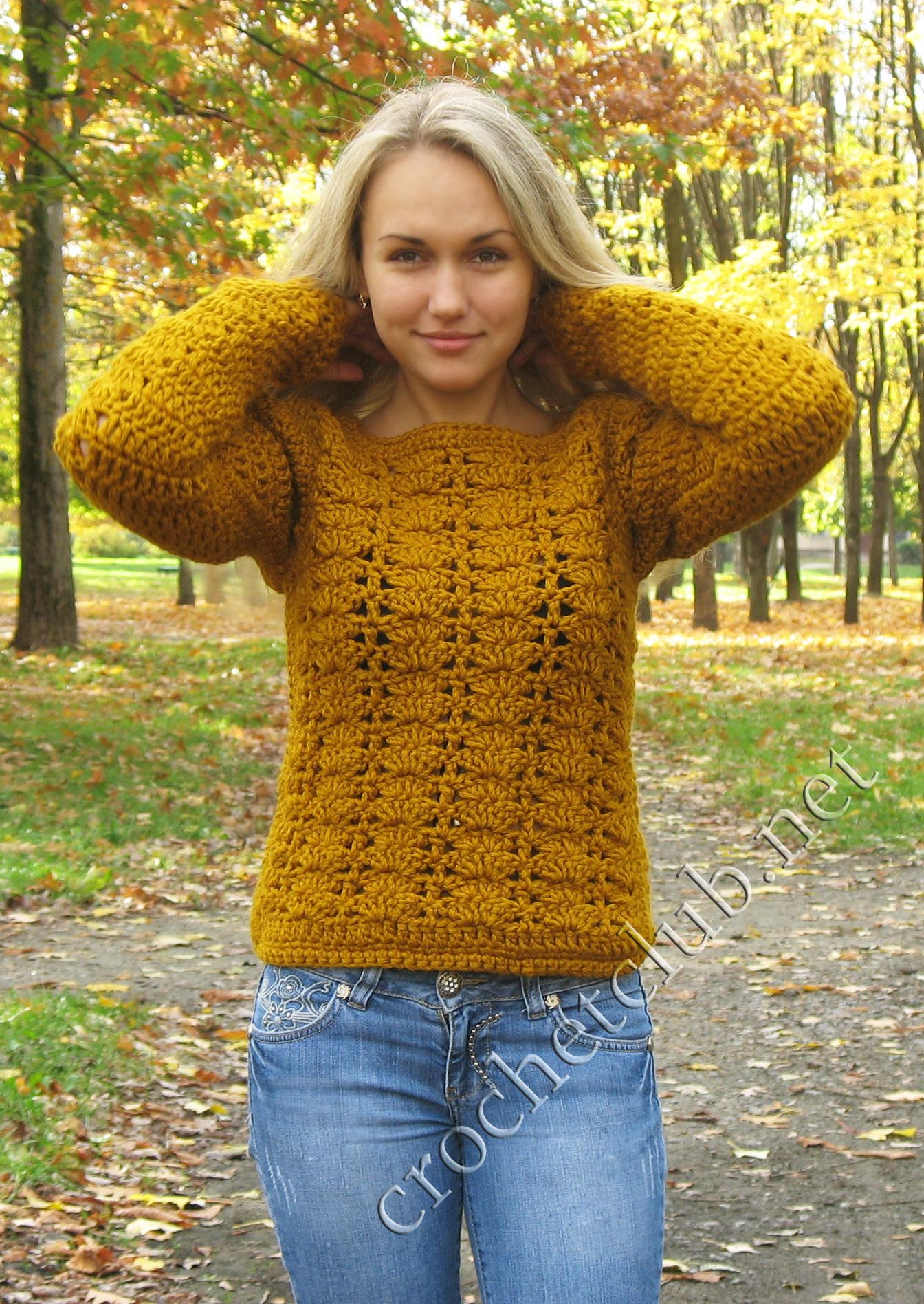 Кофта вязание крючком осень 24