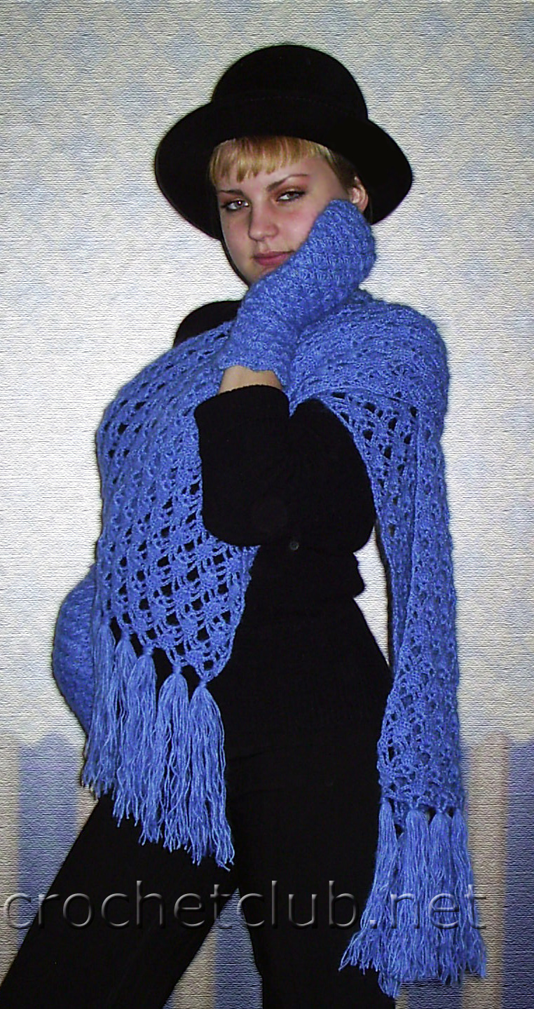 Далее.  Ажурный комплект из шарфа и варежек - работа Жанны Азарапиной.  Зима не за горами!  119120121122.