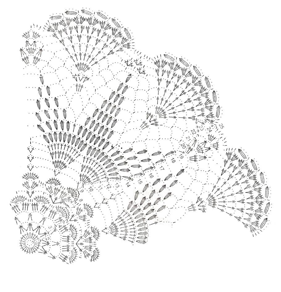 Схемы вязания ажурным крючком салфетки.