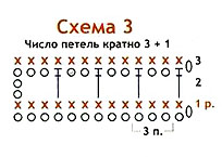 схема топа из вязаных чешуек
