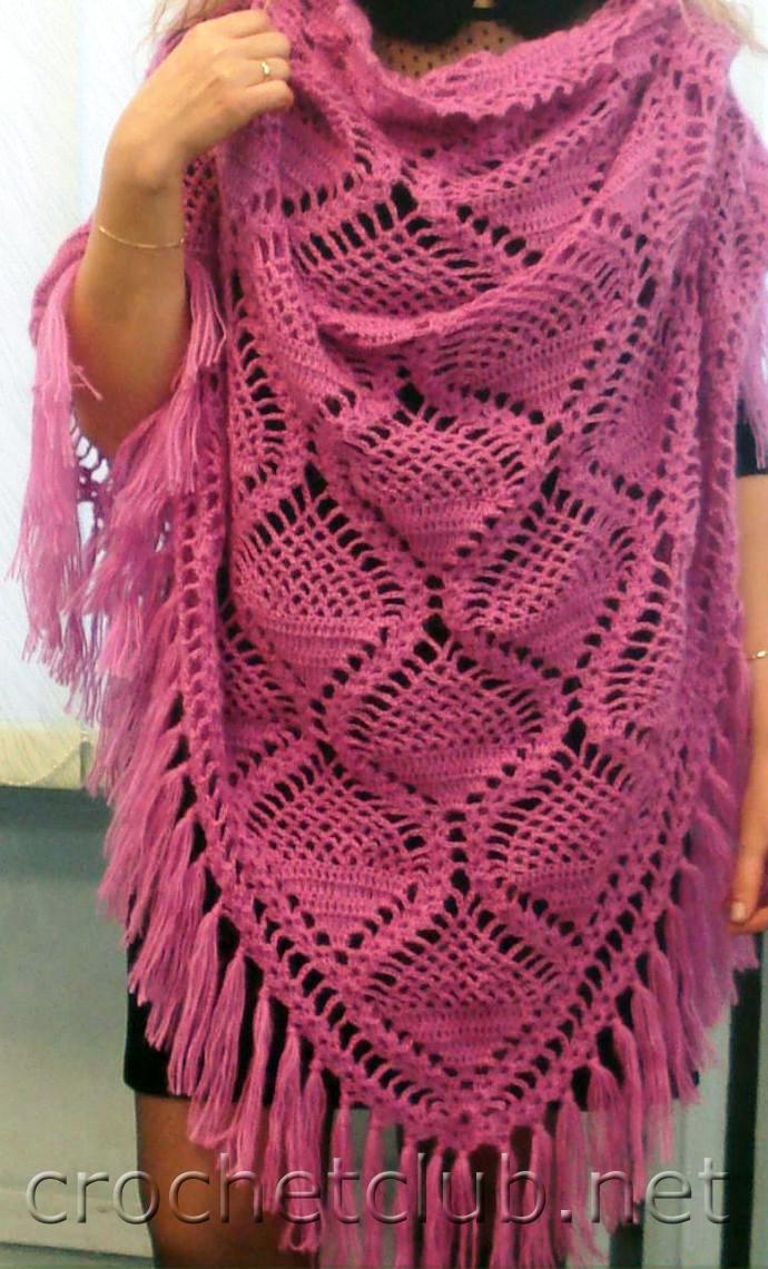 Вот наиболее простые схемы вязания шали крючком для .
