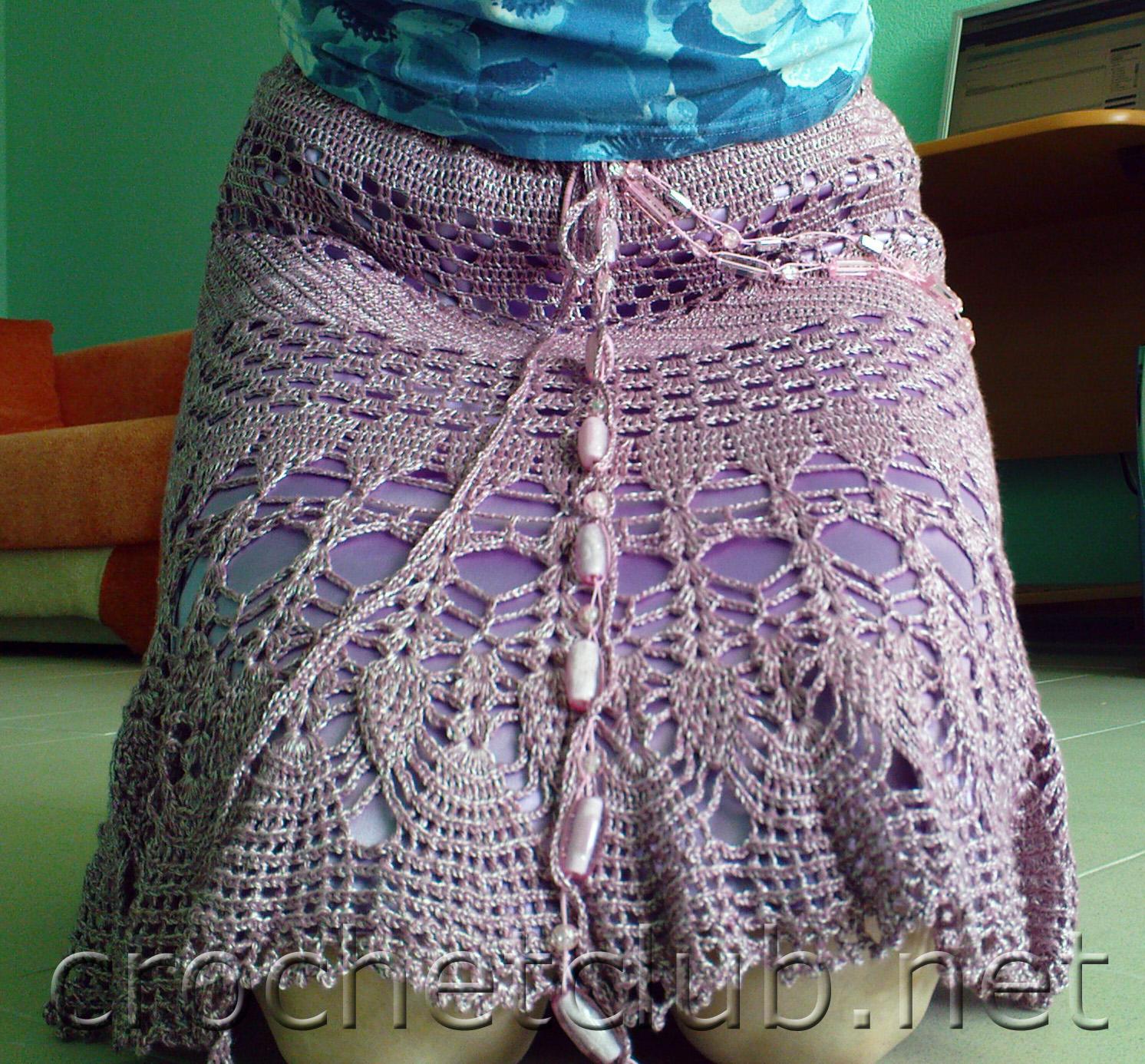 как вставить резинку в юбку вязанную крючком: