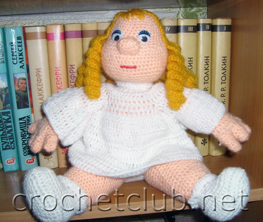 Схема вязания куклы крючком, схема из китайского журнала, поэтому без описания. .  Кукла, вяжем.