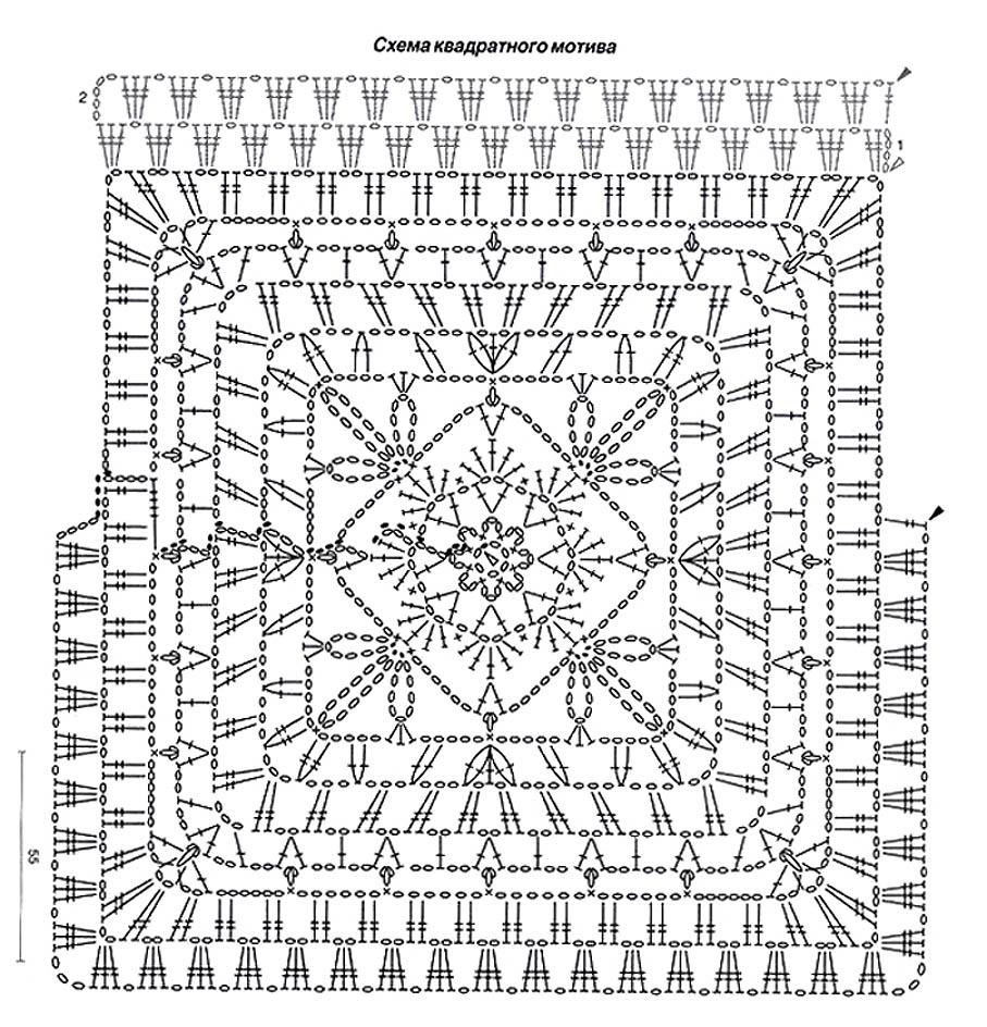 вязание крючком мотив квадрат схема