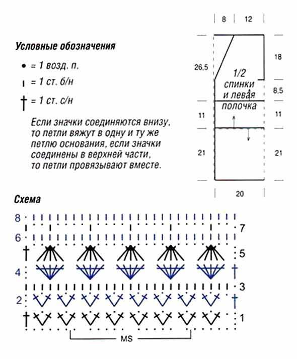 схема вязания крючком жилета.