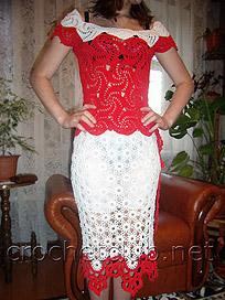 вязаный ажурный костюм