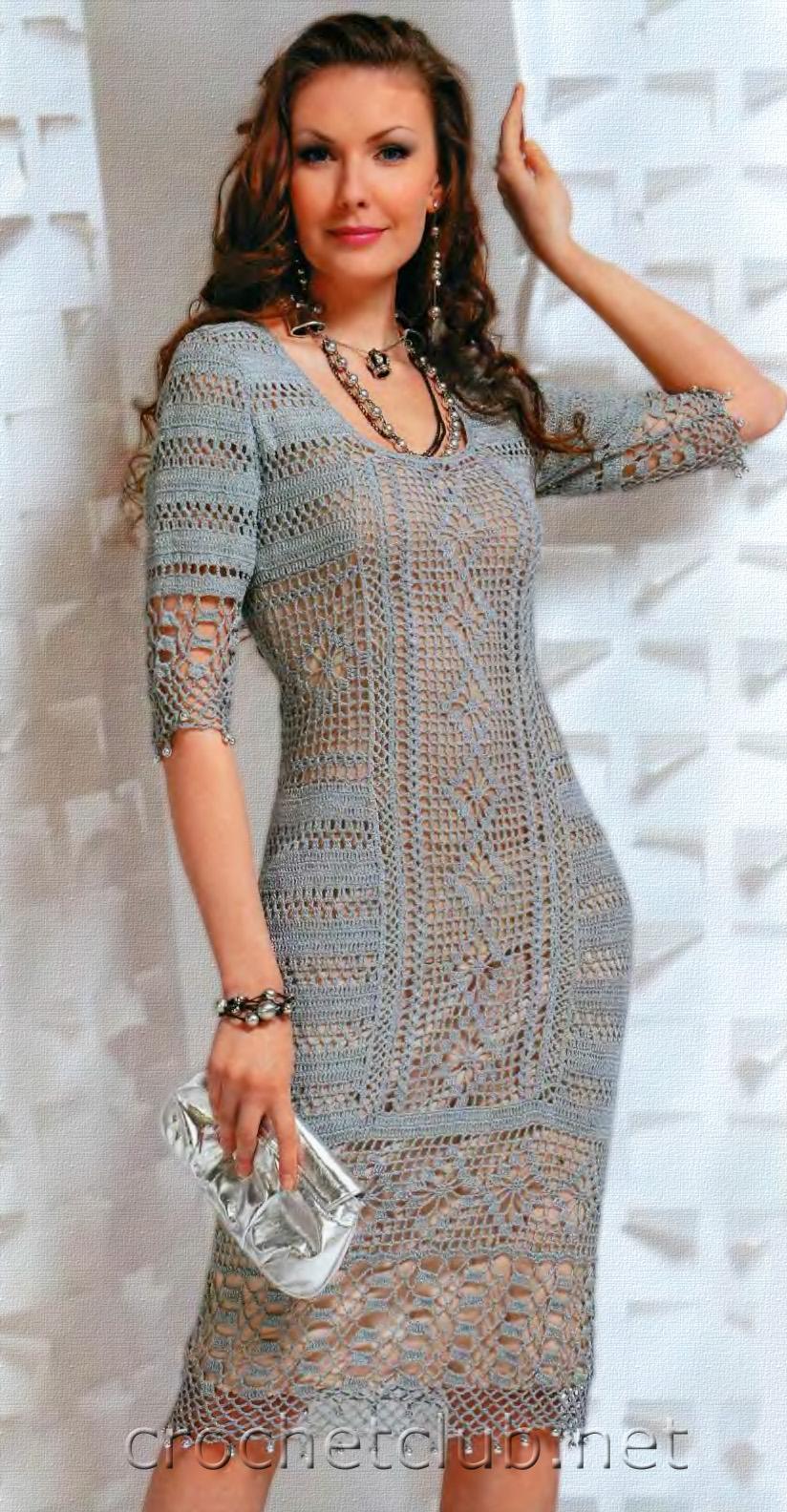 Серое вязаное платье - Вязание Крючком. Блог Настика
