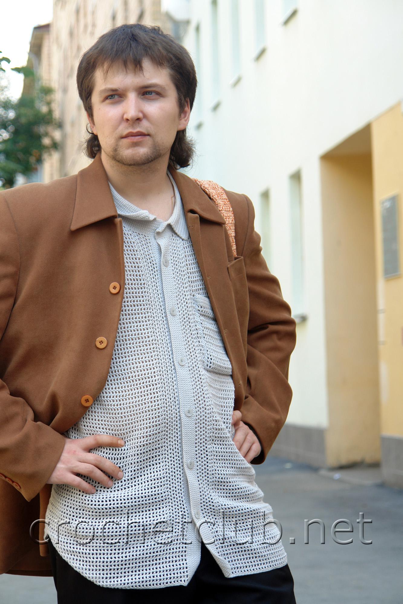 Вязаная мужская рубашка.