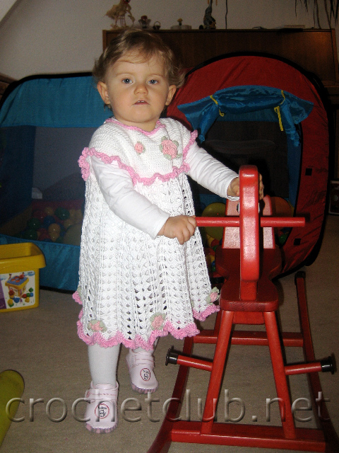 Нарядное платье для девочки (1-2 года. вязание крючком платья для.