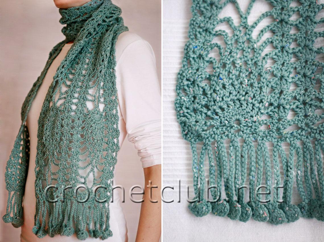 шарф с ананасовым узором вязание крючком блог настика
