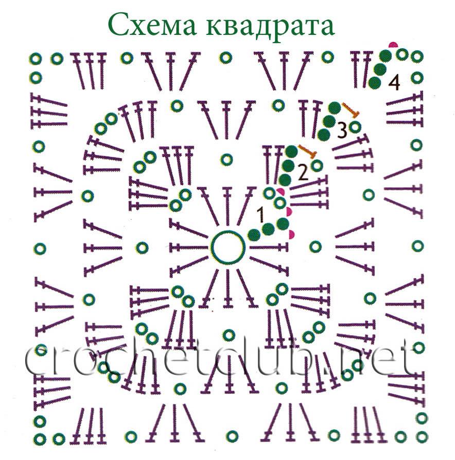 Вязание для начинающих крючком квадратов для 82