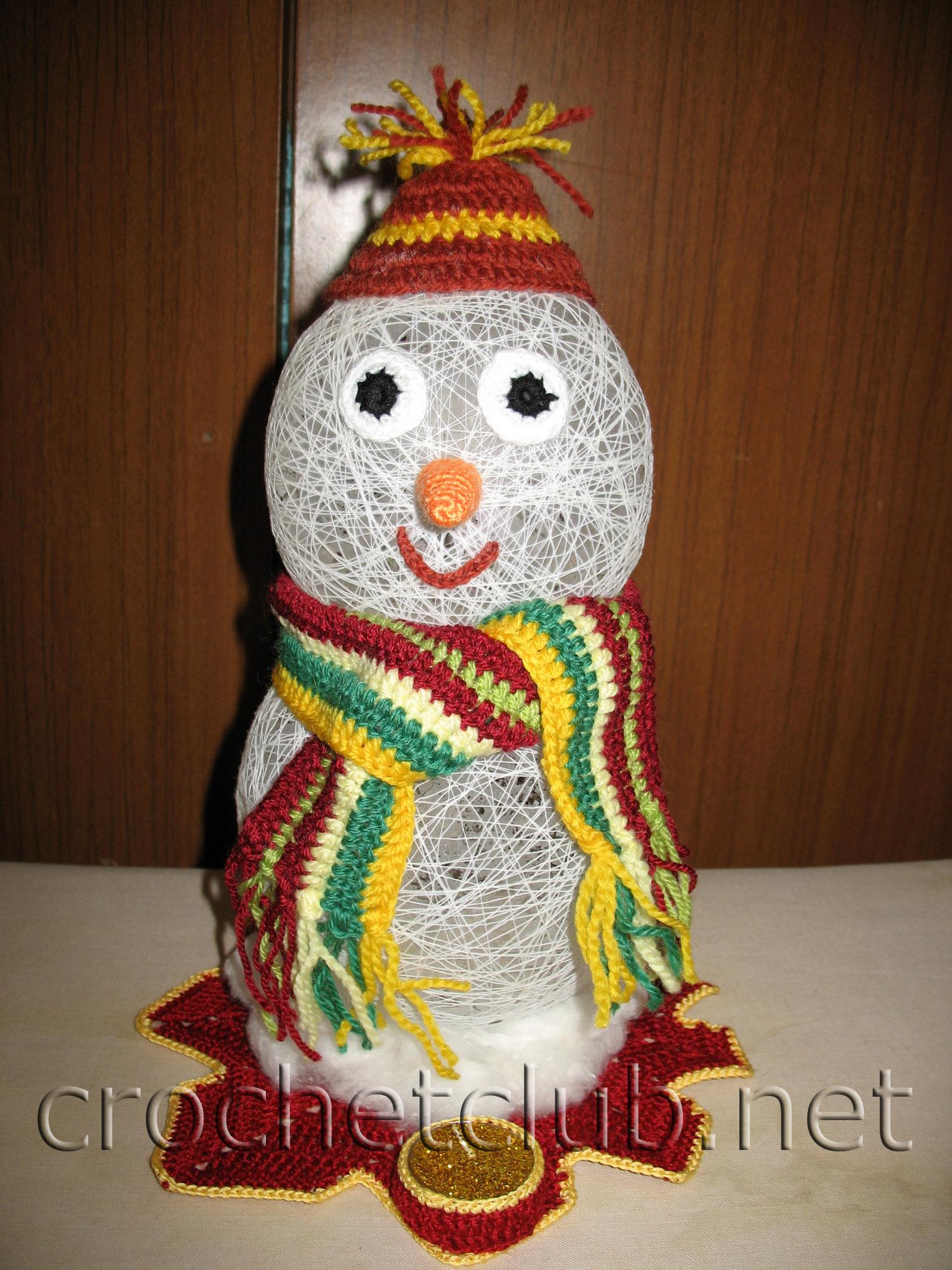 вязаные новогодние игрушки крючком схемы снеговик