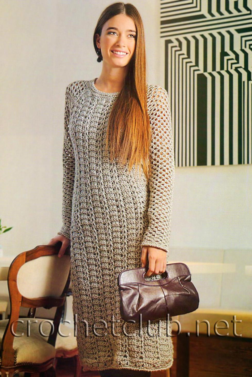 схема серого вязаного платья