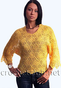 желтый пуловер из мотивов