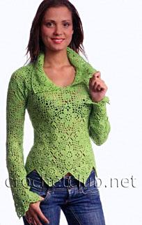 пуловер с отложным воротничком