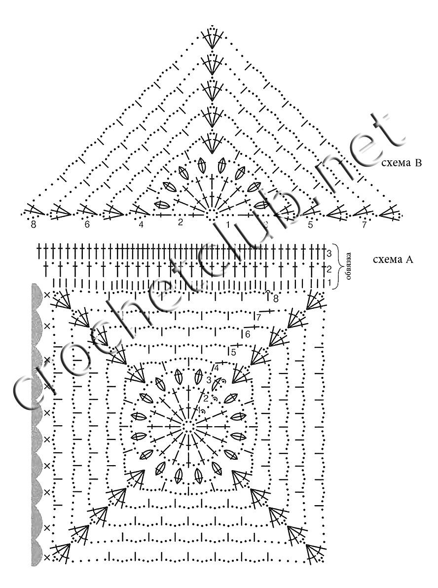 Схема вязания крючком треугольника фото 312