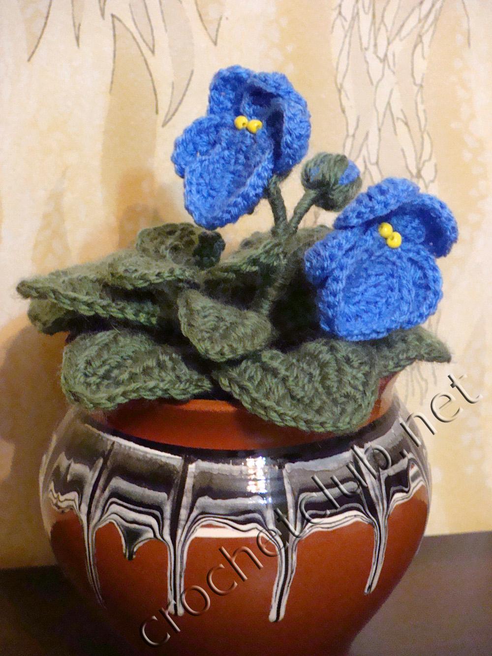 Цветы крючком схема фиалки фото 92