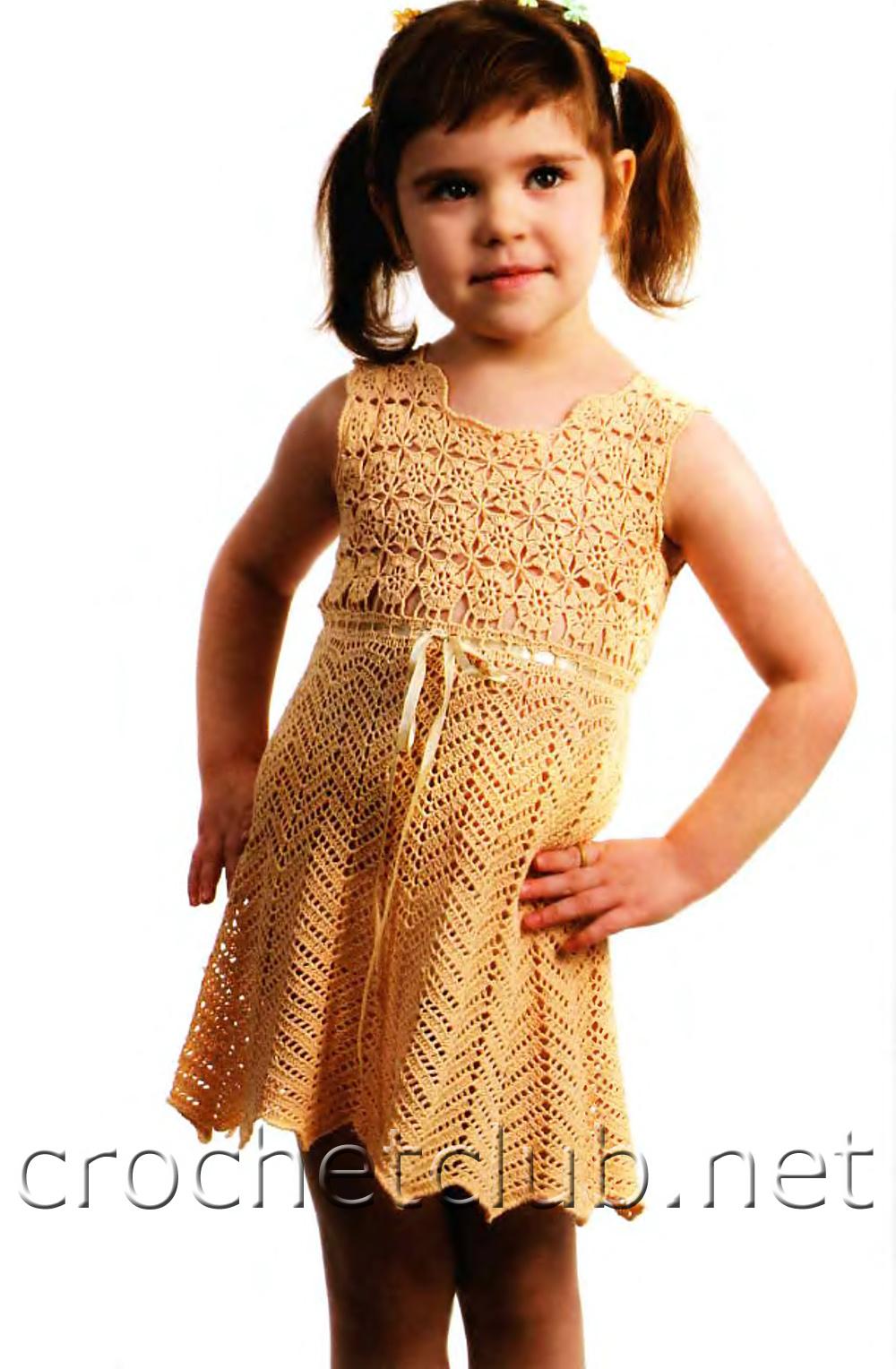 B платье крючком схемы для девочки 1года. схема вязания платья для