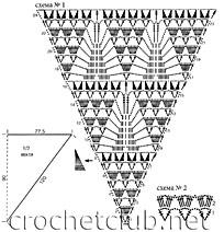 схемы вязания персиковой шали