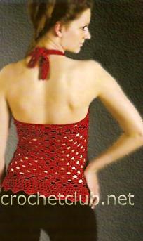 268dbfe8132 Красный топ с открытой спиной - Вязание Крючком. Блог Настика