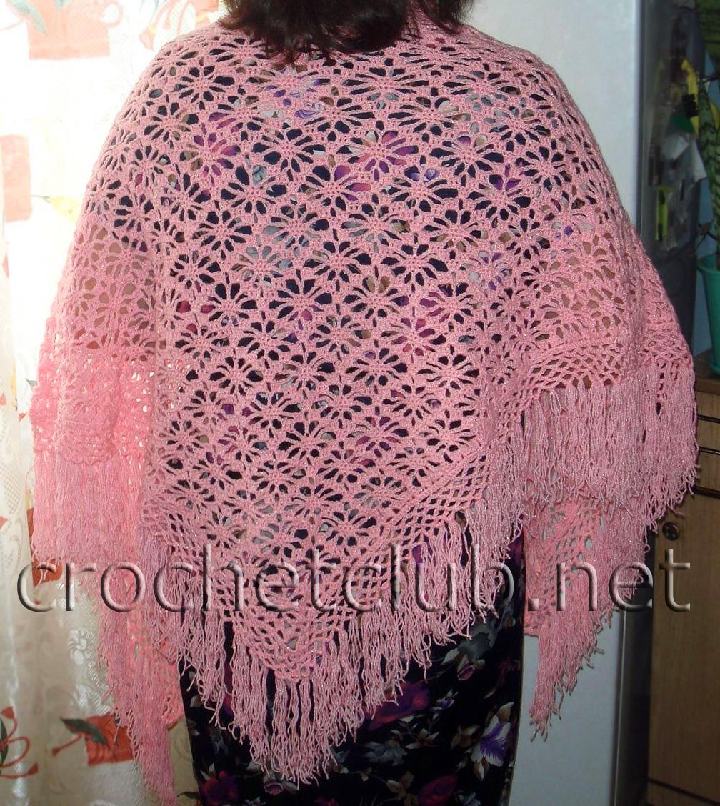 розовая и сиреневая шали вязание крючком блог настика