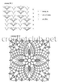 схемы белой вязаной туники