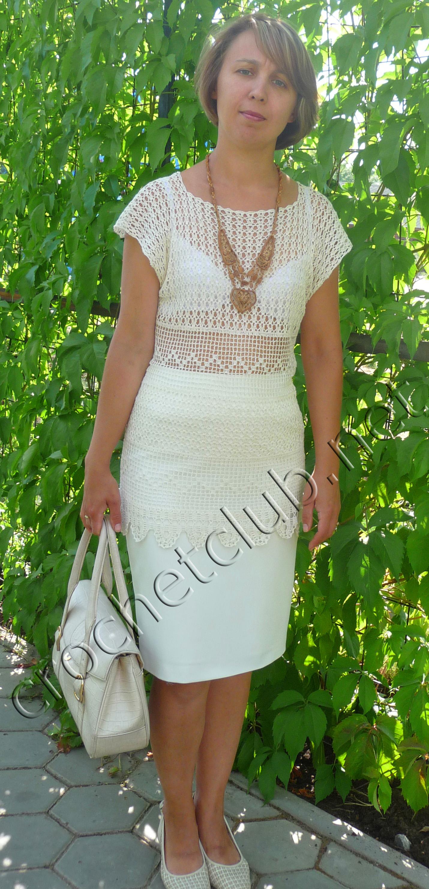 Платье из филейного вязания