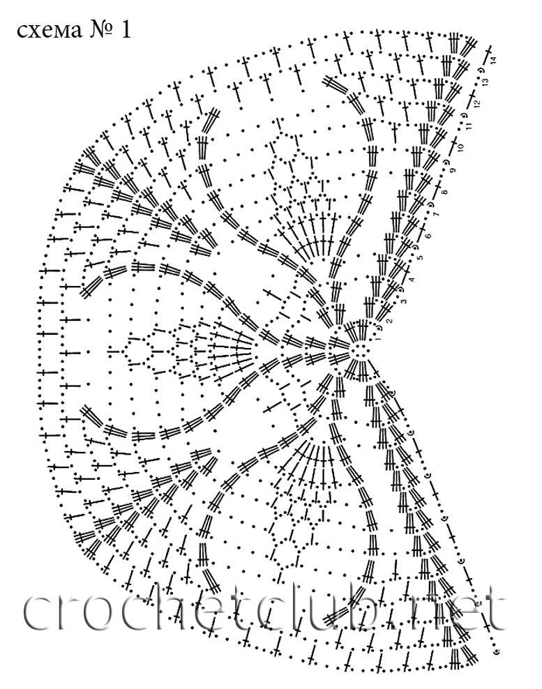 Вяжите шаль, согласно схемам