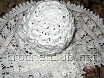 белая шапка и шарф крючком