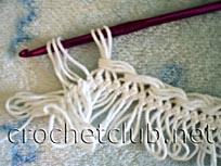 обвязка края полосы, связанной на вилке 1