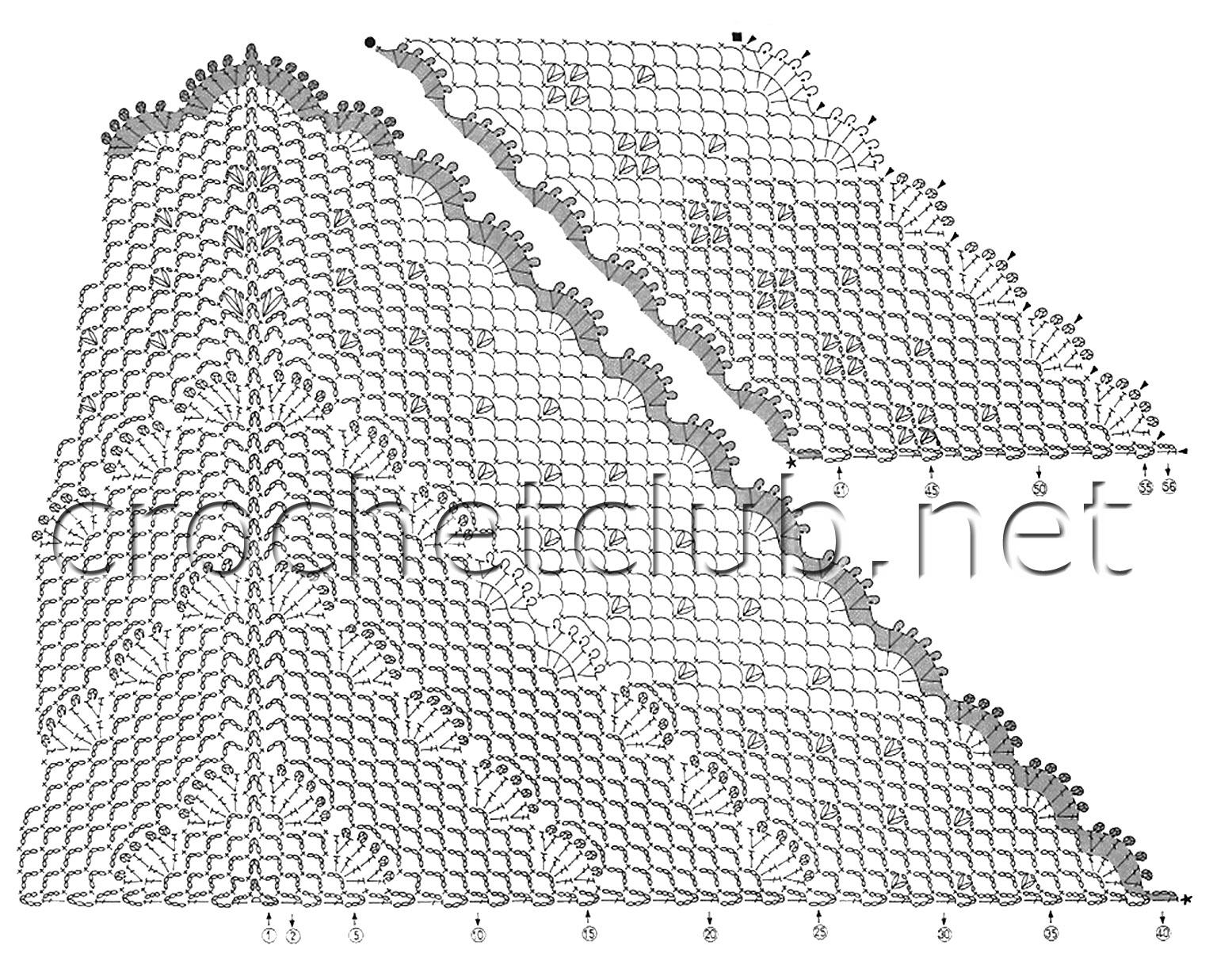 рисунок схема шали крючком