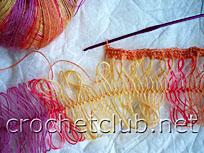 вязание шарфа на вилке 1