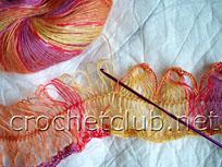 вязание шарфа на вилке 2