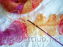 вязание шарфа на вилке 3