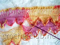 вязание шарфа на вилке 4