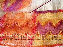 вязание шарфа на вилке 6