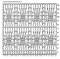 схема митенок белого цвета 1