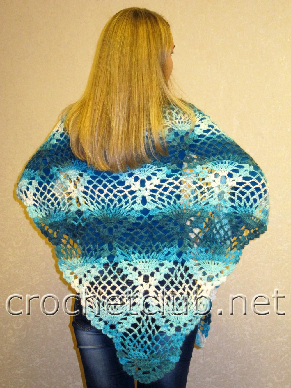 схема вязания шали из акриловой нитки