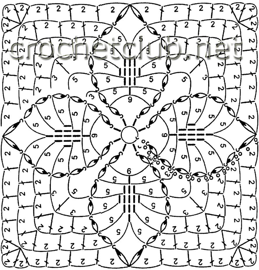Вязание крючком квадратики.