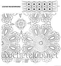 схема палантина из цветочных мотивов