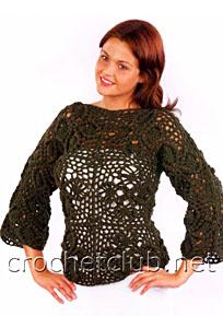 зеленый пуловер из квадратов