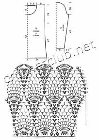схема 1 кофточки с узором из ананасов