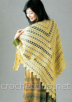 вязаная желтая шаль